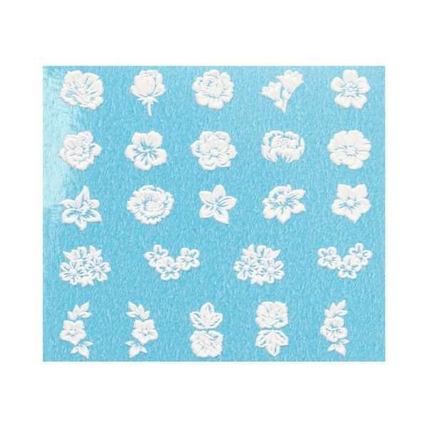 Pegatinas al agua 3D / WHITE FLOWERS