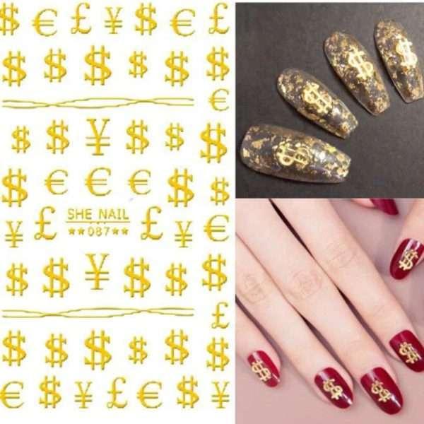 Pegatinas dolar oro